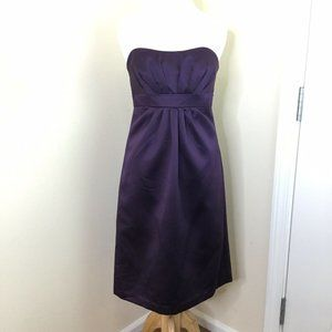 Alfred Angelo Strapless Satin Purple Dress Size 4